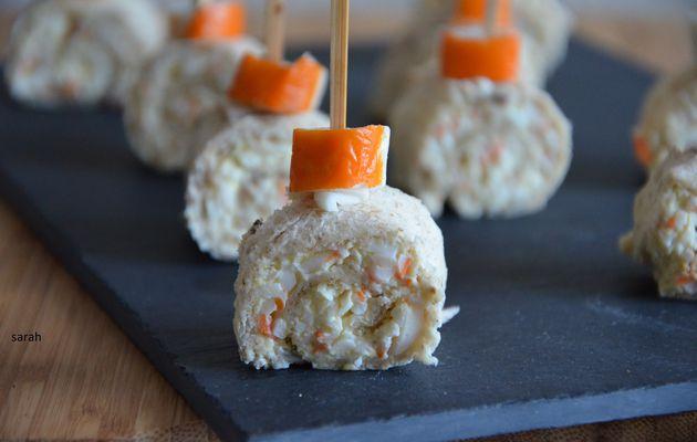 apéritifs roulés au surimi,oeufs mimosa et fromage frais