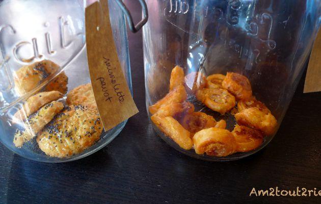 Vous resterez bien pour l'apéro : sablés à la mimolette et roulés au chorizo