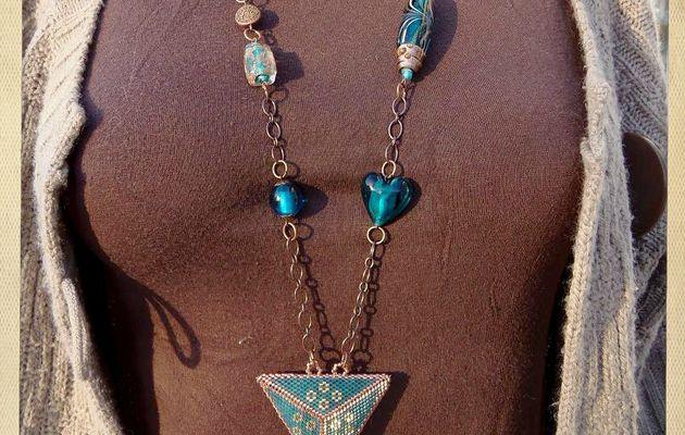 Sautoir bleu lagon & cuivre style oriental