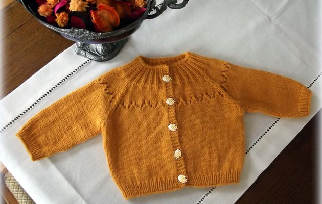 Couleur curry, un gilet court enfant, emmanchures raglan