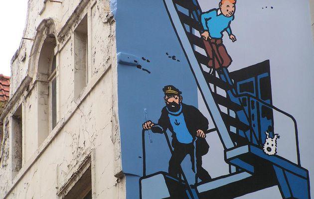 Tintin, Milou et le capitaine Haddock sur les murs de Bruxelles...