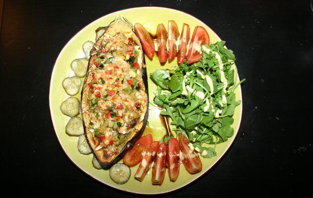 Recette n°1 : Aubergine farcie aux petits légumes et Parmesan