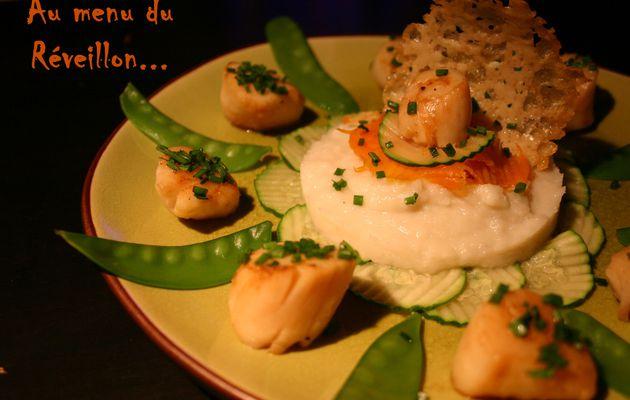 Recette n°66 : Saint Jacques juste poêlées, purée de Topinambours et pois gourmands