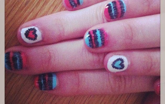 "68 ♪ Nail art ""couture"" rose et bleu"