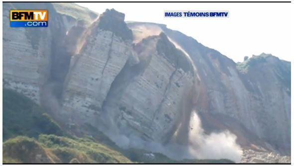Vidéo - une falaise s'effondre au dessus de la plage de Saint Jouin Bruneval (76)