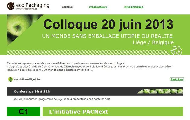 Inscription 'on line' > Colloque un monde sans emballage...