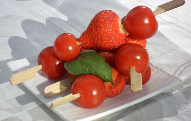 Brochettes tomate/fraise