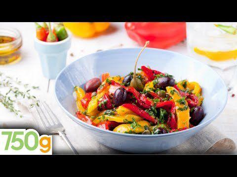 Salade de poivrons confits, tomates et olives