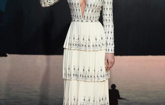 Brie Larson flashes her cleavage in a revealing plunge dress