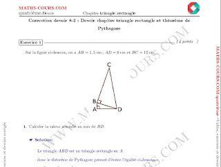 Devoir corrigé triangle rectangle et Pythagore(quatrième)