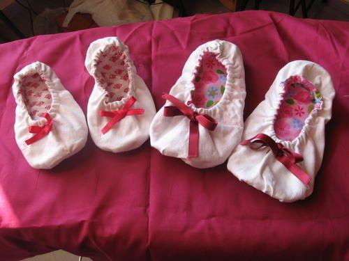 pantoufles en tissu fillettes - tuto