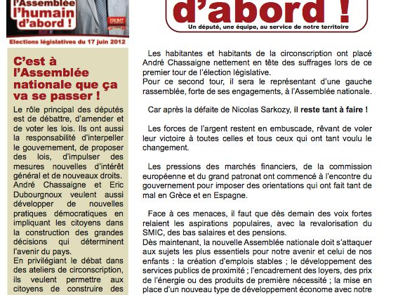Le tract pour le second tour...