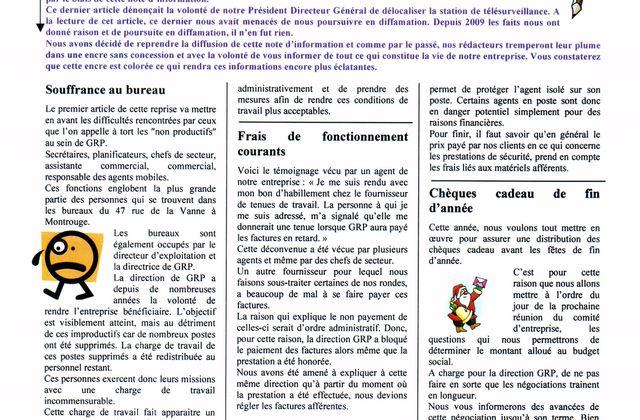 Buletin d'infos Comité d'Etreprise GRP SECURITE Aout 2012