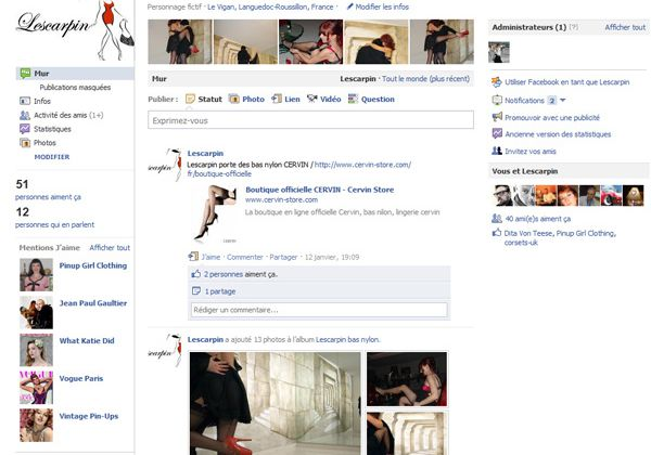 Page fan facebook de Lescarpin