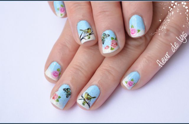 Nail Art Hiver - Water decals (ongles courts)