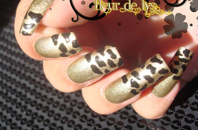 Nail Art : Léopard Or