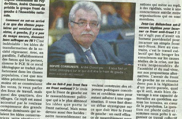 Résultats des élections européennes : interview dans La Montagne du 27 mai 2014