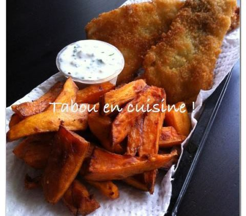 Fish and chips et ces frites de patates douces !