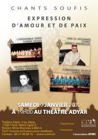 Samedi 9 janvier 2010, à Paris : Soirée de Chants soufis