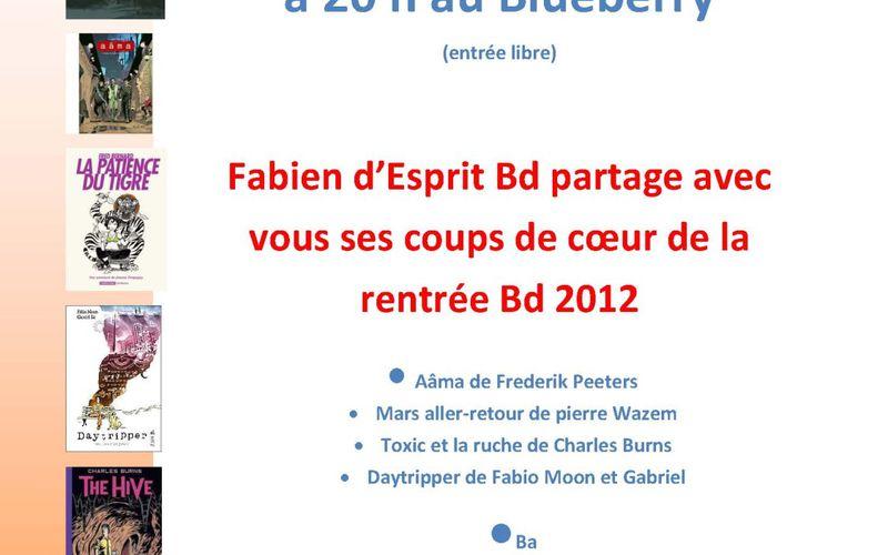 Coups de coeur Bd de la rentrée 2012 : mardi 23/10 à 20 h au Corum Saint Jean