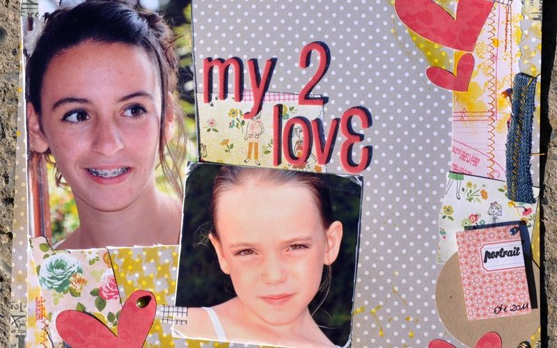 Page de scrapbooking : my 2 love