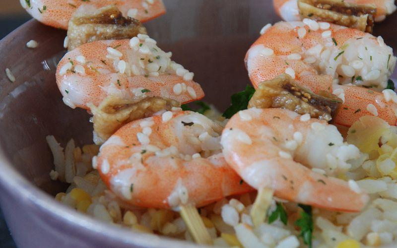 Brochettes de crevettes à la figue et au citron vert