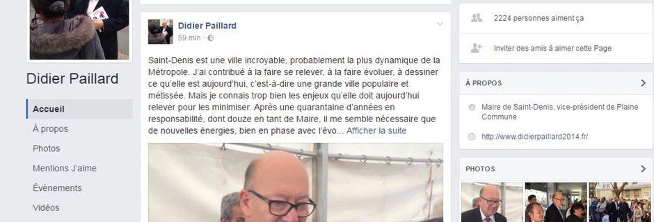 Didier Paillard, le maire PCF de Saint-Denis, annonce sa démission sur Facebook