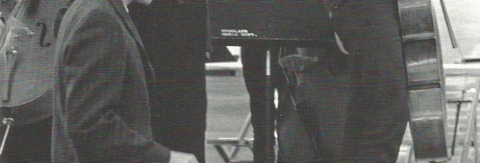 Philip Corner arriving to conduct The Thousand Symphonies. 1968. Hickman Auditorium. Douglass College.