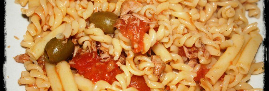 pâtes au thon et olives