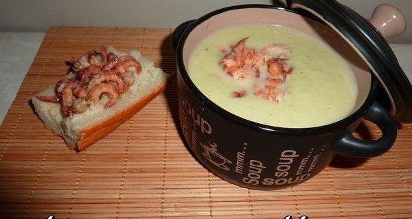 Velouté d'endives,poireaux et crevettes grises