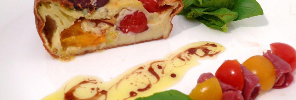 Clafoutis aux tomates cerises rouges et jaunes