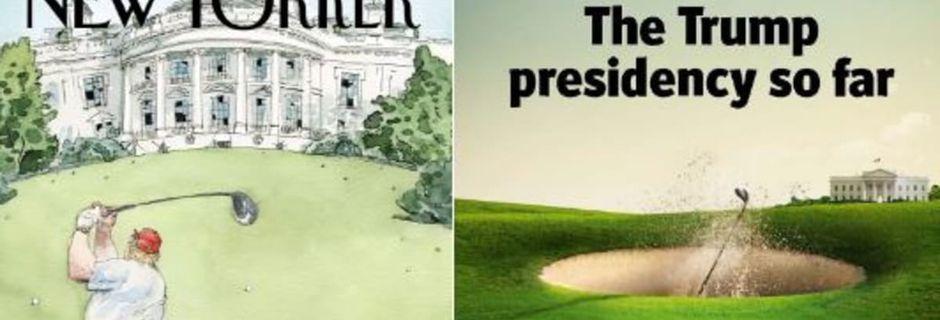"""""""The New Yorker"""" et """"The Economist"""" transforment Donald Trump en golfeur pour résumer ses premiers mois au pouvoir"""
