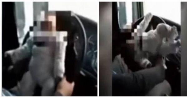 Il conduit avec son bébé attaché au volant de sa voiture : la vidéo qui scandalise le web