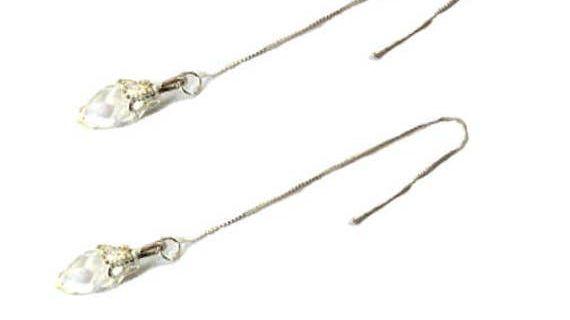 Chaînes d'oreilles argent 925 , gouttes cristal de verre transparent