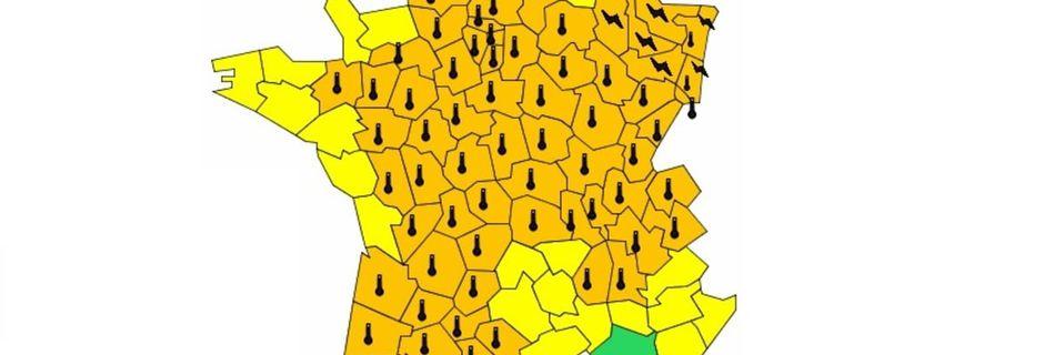 Météo France place 71 départements en vigilance orange canicule ou orages ce jeudi 22 juin
