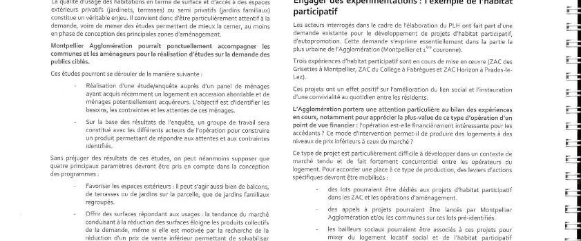 PLH de Montpellier Agglomération et Habitat participatif