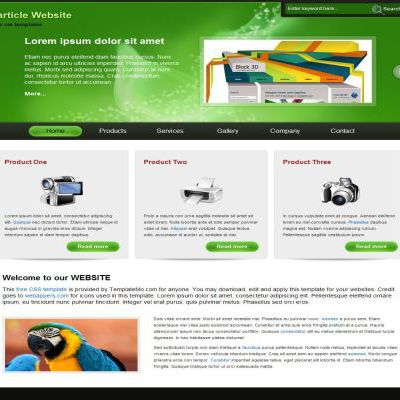 Black Green CSS Template