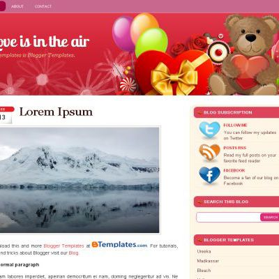 Free Pink Valentine Blogger Layout Theme Template