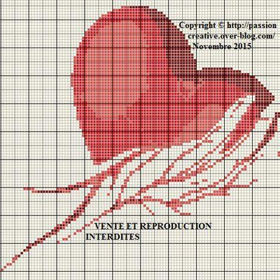 Grille gratuite point de croix : Coeur rouge dans une main