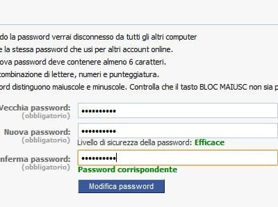 Come cambiare la password di Facebook