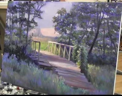 Dessin et peinture - vidéo 2006 : Le pont de bois à la lisière de la forêt - peinture à l'huile au couteau.