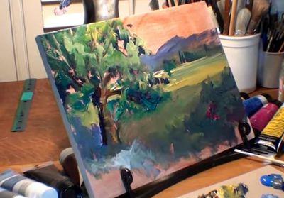 Dessin et peinture - vidéo 2087 : Comment peindre un chêne et son feuillage dans un paysage verdoyant ? - acrylique et huile.