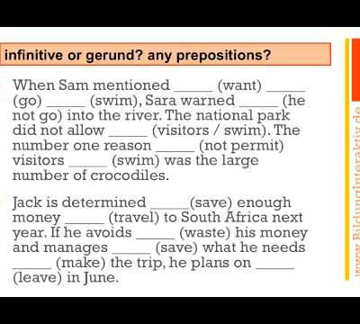 gerund and infinitive exercises advanced level