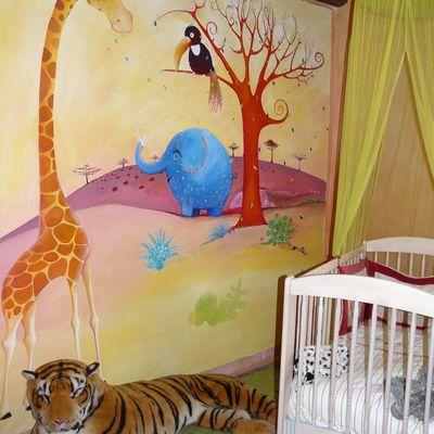 Fresque de l'éléphant bleu dans la chambre d'axel