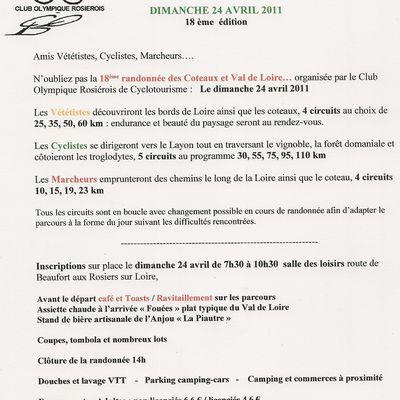 Randonnée Coteaux et Val de Loire 2011