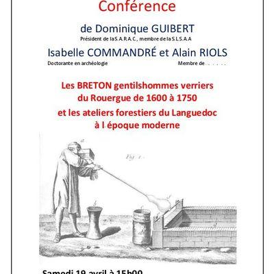 Conférence sur les BRETON verriers du Rouergue