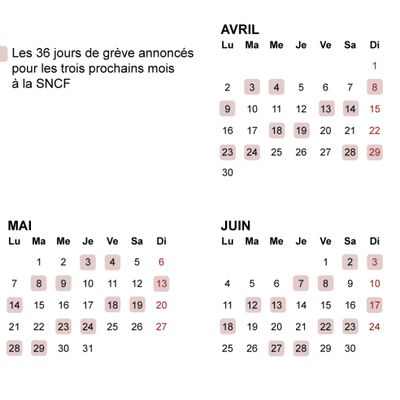 Calendrier greve SNCF