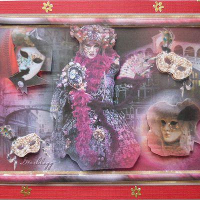 carte 3d, scène du Carnaval de Venise sur fond de gondoles