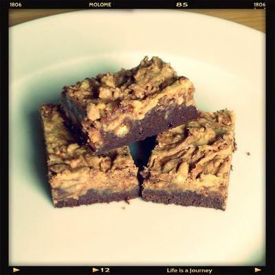 Brownies au chocolat marbré beurre de cacahuètes crunchy