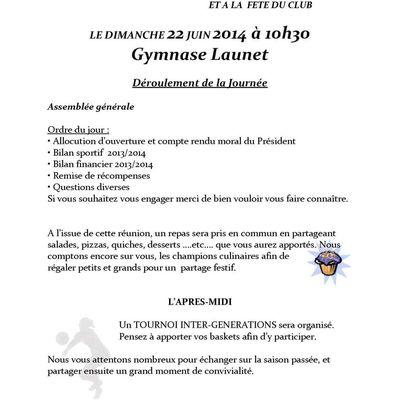 Convocation Assemblée Générale dimanche 22 Juin 2014